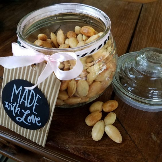 buttered 'n blanched almonds