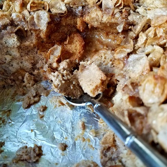 french toast bread pudding with salted maple buckwheat crunch