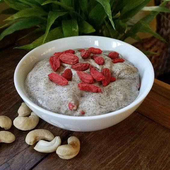 Smooooth Goji Cashew Chia Seed Pudding