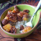 Warm, Saucy Nectarines over Brown Rice Farina