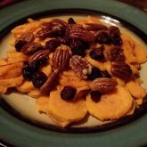 sweet potato with salted pecans and cherries
