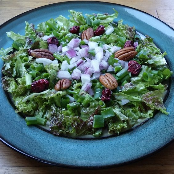 Red Leaf Salad with Buttery Pecan Dressing