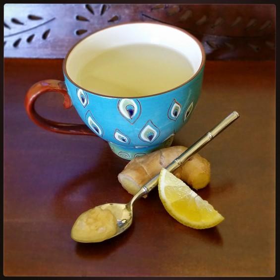 lemon ginger tea with raw honey