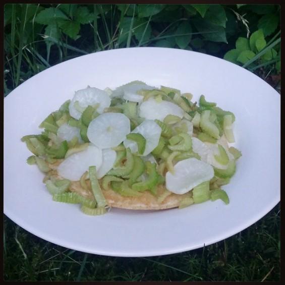 Brown rice pancake with braised daikon & celery