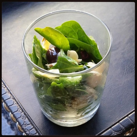 the three ingredient salad shot