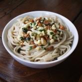 Semi-Deconstructed Cashew Pesto on Brown Rice Pasta