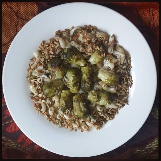 seSunflower ame seed brussels sprouts with brown rice macaroni